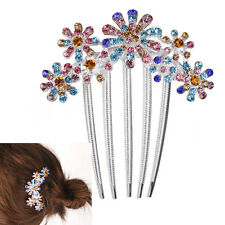 Women's 5-pin Flower Rhinestone Hair Slide Comb Clip Decoration Multicolored