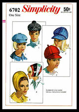 Hats Fabric Sewing Pattern SIMPLICITY 6702 MOD NEWSBOY & HELMET Millinery JOCKEY