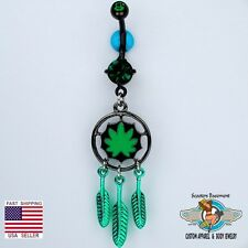 Marijuana Leaf Dream Catcher Dangle Belly Ring Weed Pot Leaf Navel Ring (C36)