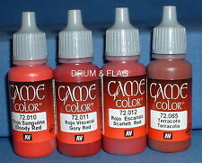 VALLEJO GAME COLOR PAINT - RED TONES / THE REDS - 4 x 17ml bottles. DF06