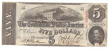 1863 Confederate States Five Dollars Currency, Choice Circulated Note, Very Neat