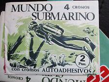 DOS sobres de cromos mundo submarino años 70 nos.undersea world 70 stickers