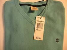 MEN'S TIMBERLAND *WILLIAMS RIVER V-NECK COTTON SWEATER* COLOR BLUE SIZE MEDIUM