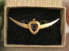 ANTIQUE Vintage VICTORIAN 15ct GOLD CRESCENT MOON Sweetheart BROOCH + SAPPHIRE