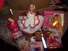 Barbie Easter /birthday  Basket lots goodies1990 Barbie hello kitty 16 items