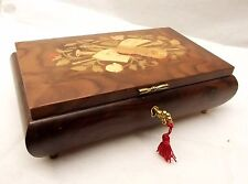 Vtg Romance Music Box Swiss Italy Inlaid Music Instrument Lute Horn Floral Burl