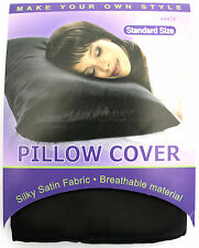 ANNIE PILLOW CASE COVER SILKY SOFT SATIN BREATHABLE MATERIAL BLACK (#4475)