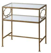 Luxe Contemporary GOLD Iron Side Table Glass Top Shelf Open Accent Wrought Metal