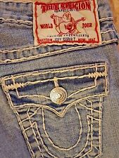 Sz 24 True Religion Joey Super T Jeans Women's Distress blue White Stitch Long