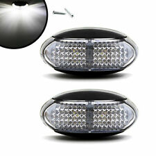 2pcs Clear White 4 LED Side Marker Blinker Light Indicators For Truck Trailer