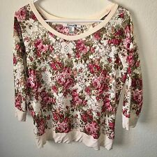 FOREVER 21 3/4 Sleeve Floral Top SIZE M Medium