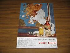 1954 Print Ad White Horse Scotch Whiskey Horse Statue