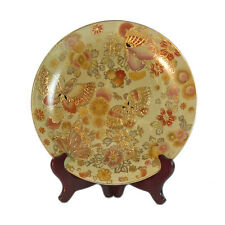 26cm Oriential Porcelain Satsuma Cream Plate w Gold Butterfly & floral pattern