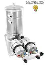 Twin Bosch 044 Bombas De Combustible Aluminio surge remolino Tanque Asamblea an8/an10 Plata