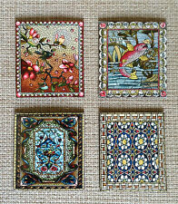 Set of 4 Square Stained Glass Design Magnets for your Fridge