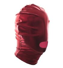 Red Hot PVC Wet Mouth Open Head Hood, Bondage Fetish Restraints Adult Night Toy