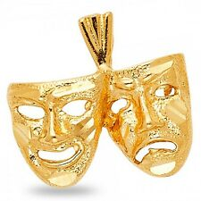 Masquerade Mask Pendant Solid 14k Yellow Gold Two Faced Drama Charm Polished