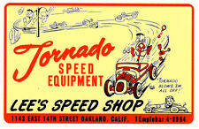 TORNADO SPEED EQUIPMENT LEE'S SPEED SHOP HOT RAT ROD DECAL VINTAGE LOOK STICKER
