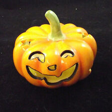 """Ceramic Pumpkin Halloween Candle Holder Old Time Pottery 4"""" x 3.5"""""""