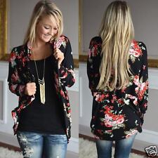 Boho Womens Irregular Long Sleeve Wrap Cardigan Loose Outwear Jacket Coat Tops