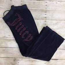 Juicy Couture Women Sweat Pants Blue Velour Pockets Waist Elastic Petite Bling