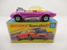 Matchbox Superfast Draguar 36 Metallic Pink Yellow Interior Mint in G Box MIB