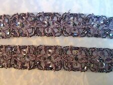 """3/4"""" ***BEAD - SEQUIN - EMBROIDERED*** Trim (2 yd) PURPLE"""