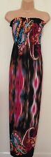 INFLUENCE RUCHED BANDEAU LYCRA FLORAL MULTICOLORED LONG FLIPPY MAXI DRESS S M