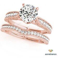 14K Rose Gold Finish Round Cut Diamond Engagement Bridal Set Wedding Band Ring