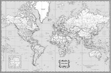 "World Classic Black & White Wall Map Poster - 36""x24"" Rolled Paper 2016"