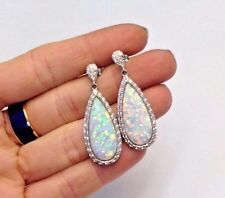Glittering Sterling Silver and Fiery Simulated Opal Large Drop Earrings | NEW