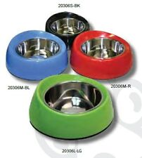 Pet One P1-20306S-LG Bowl Round Feed Retainer 160ml Melamine/SSteel Lime Green