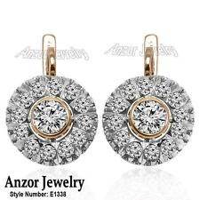 14k Solid Rose & White Gold Diamond & White Sapphire Russian Style Earrings