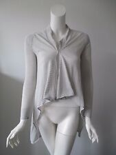 Anthropologie SHAE Gray Stripe Textures Hi Lo Hem Thin Knit Cardigan Sweater S