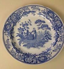 SPODE BLUE ROOM COLLECTION GIRL AT WELL PLATE MADE IN ENGLAND BLUE WHITE EC
