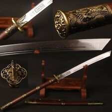 "FOLDED STEEL Chinese KangXi sabre ""斩马刀"" broadsword Qing dyasty sword Hualee wood"