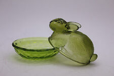 Green Glass Bunny Rabbit Sitting on Nest Candy/Nut Dish