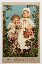 Marie Flatscher EASTER CHILDREN Bring Bouquets of Flowers Postcard EMB