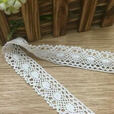 3Yd Vintage Cotton Crochet Embroidered Lace Edge Trim White Sewing Scallop