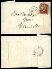 PENNY RED Plate 76 RAILWAY GLOSTER STATION POSTMARK 1868 CROSFIELD LIVERPOOL