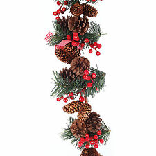 1.8m Luxury Christmas Gingham Berries & Pine Cones Tinsel Garland Decoration