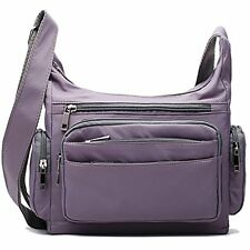 Large Light Grey Crossbody Shoulder Bags for Women Teens Nylon Travel Messenger