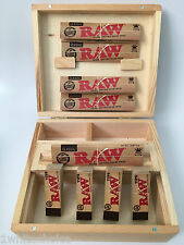 Large Wooden Roll Box Smokers Gift Set Idea 5 Raw Kingsize Papers & 4 Tips Deal