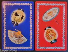Chinese Paper Lanterns Fan Umbrella Pair Vintage SWAP PLAYING CARDS-ARRCO USA