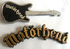 MOTORHEAD x 2 VINTAGE badges  GUITAR SHAPED  ENAMEL BADGE & plastic name shape