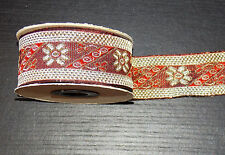 1m 33mm wine red Gold jacquard embroidered ribbon lace applique motif trimming