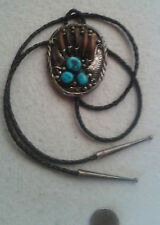 NAVAJO Bolo Tie Necklace Morenci Turquoise, Sterling,  Badger Claw, Vintage, BIG