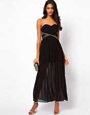 TFNC Chiffon Maxi Evening Dress with Embellished Bandeau Neck  Black UK 14/EU 42