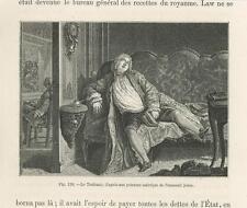ANTIQUE MAN SLEEPING W/BOOK SETTEE SOFA VERSAILLES COSTUME MINIATURE OLD PRINT