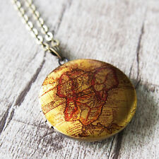 Ancient World Map Vintage Brass Round Picture Locket Pendant Necklace